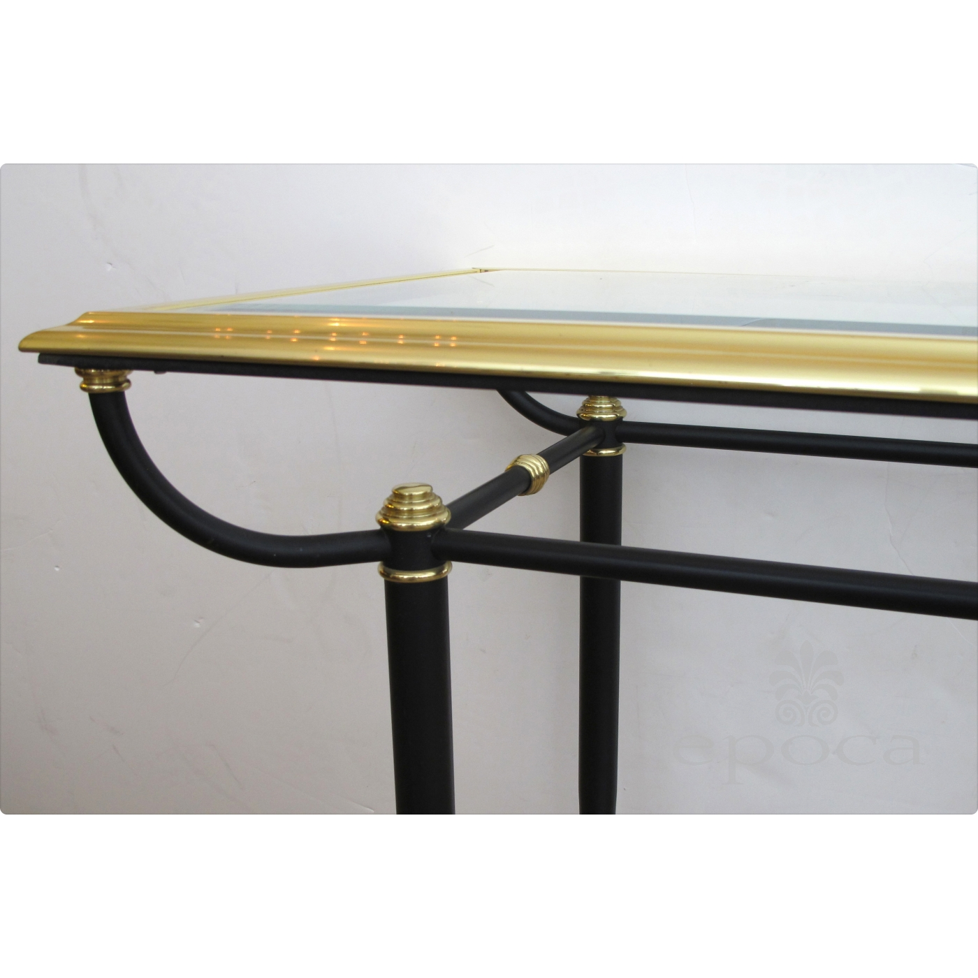 ... A Good Quality French 1950u0027s Brass And Black Metal Console Table With  Beveled Glass Top And ...