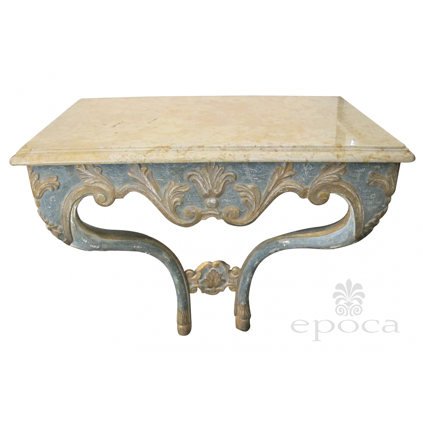 Elegant Custom Made Italian Baroque Style Aqua And Ochre Painted Console  Table With Marble Top