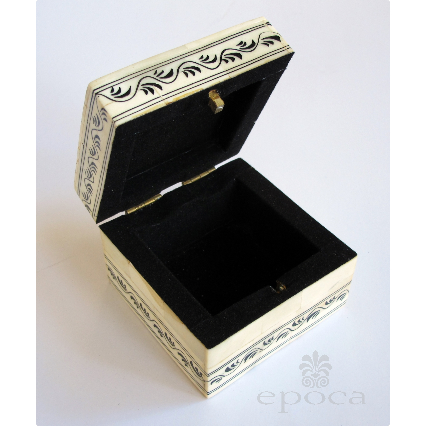 A Intricately Decorated Moroccan Bone Square Form Box With