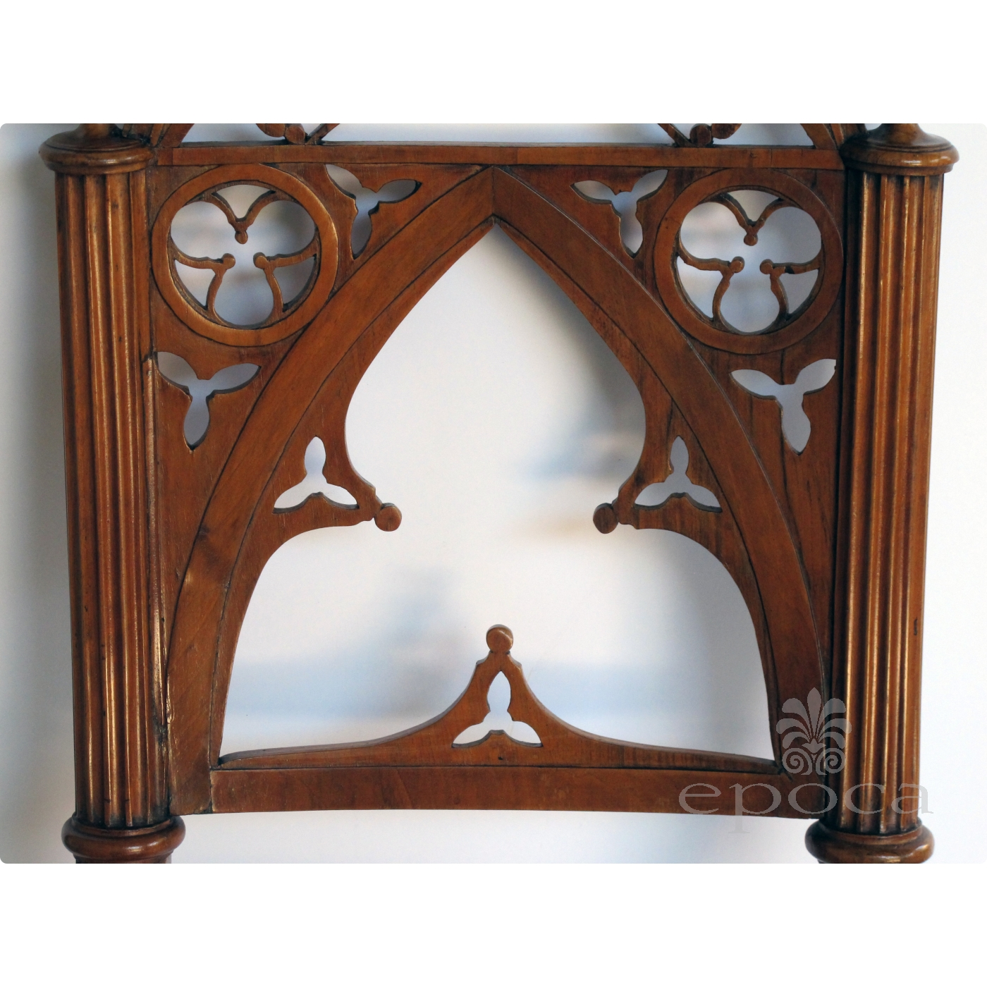 ... handsome and well-carved set of 4 continental gothic revival  klismos-form walnut side ...