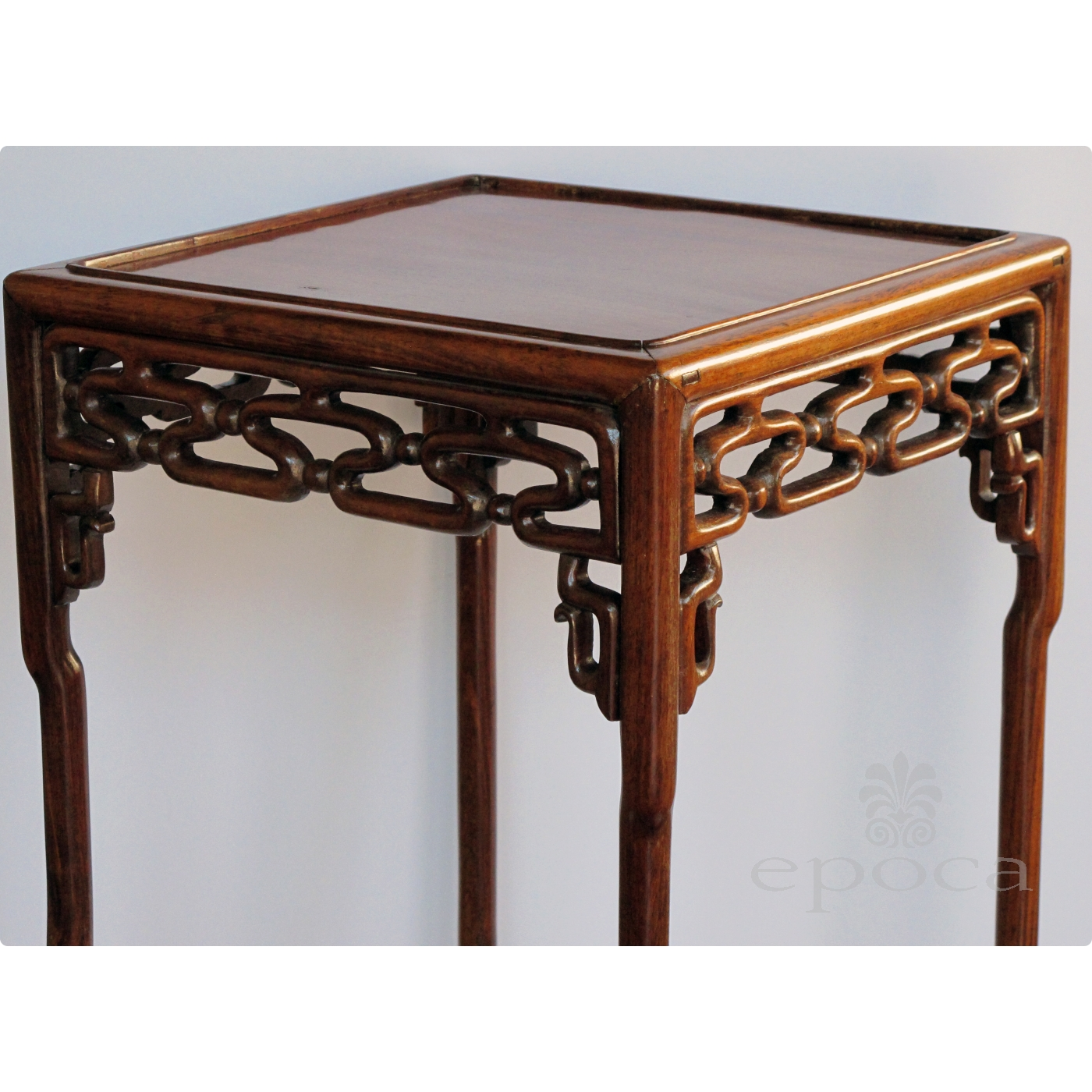Antique square side table -  Richly Patinated Chinese Hongmu Wood Square Side Table With Stylized Openwork Cloud Scroll Apron And