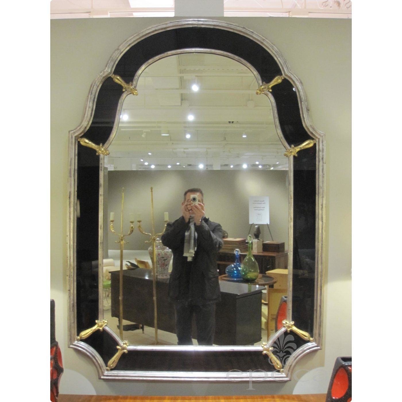 Epoca San Francisco A Glamorous American Hollywood Regency 1960 S Silver Giltwood Mirror With Black Glass Border