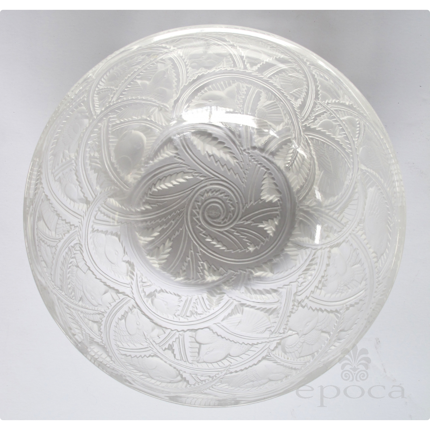 An Exquisite French Clear And Frosted Glass Bird Bowl By