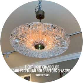 Carl Fagerlund Orrefors mid century chandelier epoca's favorite