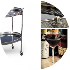 Classic & Chic Holiday Entertaining: Black Manhattans Served on a Nickel-Plated And Black Glass Oval Vintage Drinks Cart.