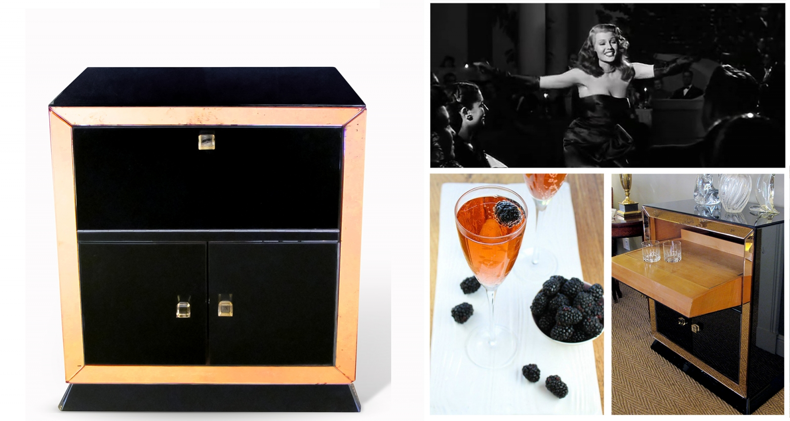 A Noirish Holiday at epoca, San Francisco, French 1950's Drinks Cabinet, Kir Royale