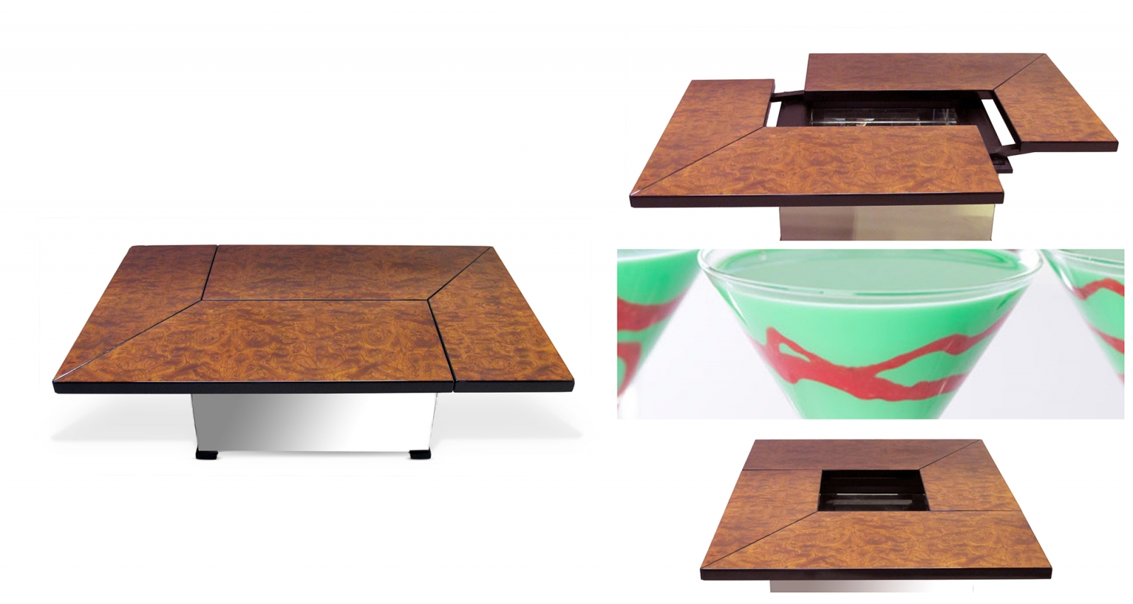 70's mad mod fun holiday entertaining- epoca metamorphic bar table and grasshoppers