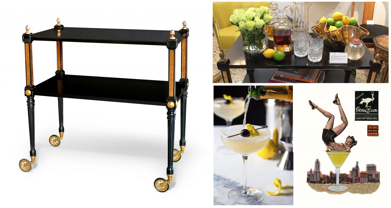 French Forties bar cart in the Manner of Maison Jansen, The French 75 cocktail, The Stork Club