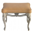 a gracefully-shaped pair of french rococo style gray painted rectangular stools with leather seats
