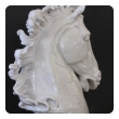 monumental and expressive italian majolica mid-century white-glazed horse head
