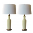 a good quality pair of frederick cooper 1960's chartreuse glazed ceramic lamps