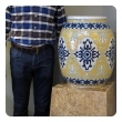 """large and good quality Mexican mustard glazed barrel-form pot with cobalt blue decoration; underside with maker's mark """"Uriarte Talavera Pue. Mex."""""""