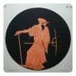set of four of French stone lithographs of classical figures within black circular reserves