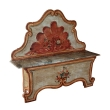 a fanciful venetian baroque style polychromed pine highback blanket bench