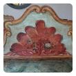 venetian baroque style polychromed pine highback blanket bench