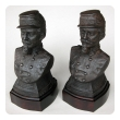 a handsome pair of french napoleon III cast iron busts of soldiers wearing the legion d'honneur medal