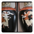 a rare pair of english double-handled polychromed porcelain urns with classical figures; marked 's.a.& co. (smith ambrose and co, burslem, england)