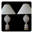 a fine pair of american 1940's wedgwood style white bisque porcelain baluster-form lamps; labeled and stamped 'warren kessler, new york'