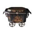 a rare and unusual english ebonized painted metal octagonal covered coal bin with chinoiserie decoration; by the coalbrookdale foundry, telford, england