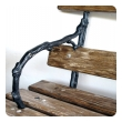 long and well-crafted french art nouveau pine garden bench with faux bois ironwork
