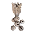 a charming english carved wood skittles set