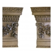 an exquisitely carved pair of english waxed pine architectural elements depicting graceful floral and foliate garlands; in the manner of Grinling Gibbons