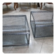 a unique pair of french 1960's industrial steel mesh Tabless or benches