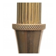 a chic french mid-century brass columnar tripod lamp with lion paw feet