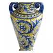 a thickly-modeled italian tin-glazed earthenware polychrome (majolica) double handled vase; possibly florence