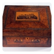a well-crafted english tonbridge ware inlaid burl wood dressing box depicting 'bodiam castle'; signed and dated on underside of cushion compartment 'made by thomas barrett 11-1883'