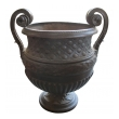 large and handsome english neoclassical style double-handled iron urn