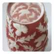 american 1960's sculpted art glass vase of frosted coral glass with raised meandering thistle branches; 'phoenix sculptured artware'