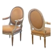 An Elegant Pair of French Louis XVI Style Grey/Green Painted and Parcel-gilt Arm Chairs/Fauteuils