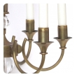 quality french mid-century brass 6-arm chandelier fitted with glass orbs