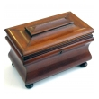 a shapely english victorian bombe-form mahogany tea caddy on bun feet