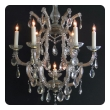 a good pair of continental Maria Theresa basket-form glass and crystal 6-light chandeliers; possibly viennese