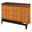 a tailored english G-Plan mid-century 3-drawer teak 'floating' chest with ebonized supports