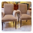 a stylish and graceful pair of french 1940's beechwood arms chairs/fauteuils with elegant outscrolled arms and back; great for dining table