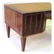 handsome and boldly-scaled french macassar-veneered pedestal desk
