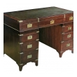 handsome english campaign 9-drawer mahogany desk with sage green leather writing surface