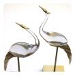 epoca san francisco pair of italian mid-century brass and glass standing cranes by Luca Bojola
