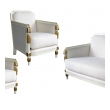 stylish french art deco ivory painted and parcel-gilt suite consisting of 2 chairs and a settee