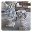 charming english neoclassical style cast stone urn with floral and fruit bouquet