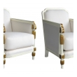 stylish pair of french art deco ivory painted and parcel-gilt club chairs
