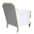 a stylish french art deco ivory painted and parcel-gilt club chair (