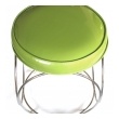 a cool pair of american mid-century chrome stools with apple-green vinyl seats
