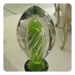 epoca American 1960's hand-blown apple-green glass decanter by Blenko Glassworks