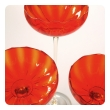 vibrant set of 3 murano 1960's orange glass compotes on clear glass stems