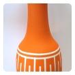 tall and striking american 1960's orange glazed vase with white ground