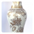 elegant pair of 19th century chinese baluster form vases now mounted as lamps with gilt decoration on a white ground